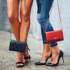 Black cambon and red classic wallet on chains. The perfect duo for all occasions