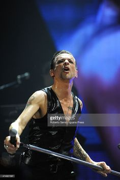 Dave Gahan lead the Depeche Mode in concert at Unipol Arena on February 22, 2014 in Bologna, Italy.