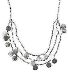 Lucky Brand Necklace, Silver-Tone Textured Disc Layer Necklace - Fashion Necklaces - Jewelry & Watches - Macy's