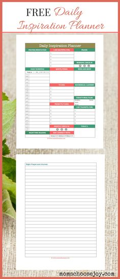 FREE Printable for Busy Moms: Daily Inspiration Planner and Journal. Finally, A Day Planner For Busy Moms That Will Not Only Help You Plan Your DAY But Will Also Help You Plan Your LIFE.