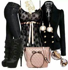 Black Blazer, Black Lace Shirt, Black Jeans, and Black Boots