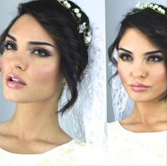 Love her glow. Smoky w/ gold glittery eye. Instead of just creamy neutrals and long lush lashes. Do slight smoky eye.