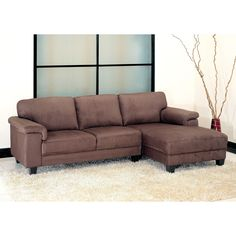 Improve your seating options in the living room of your home with this comfortable microsuede sectional sofa. Genuine hardwood was used to give this sofa a strong and durable frame. The high-density foam filling will provide years of support.