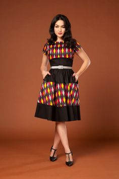 Pinup Couture Amanda Dress in Red House Harlequin