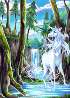 Unicorn and waterfall