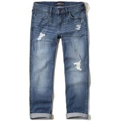 Hollister Boyfriend Straight Jeans (780.370 IDR) ❤ liked on Polyvore featuring jeans, pants, destroyed medium wash, relaxed fit jeans, low rise jeans, blue ripped jeans, boyfriend fit jeans and relaxed boyfriend jeans