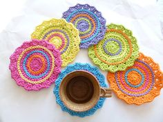 ON SALE  Set of 6 Funky Spring Crocheted Coasters by ACozyCrochet, $12.00