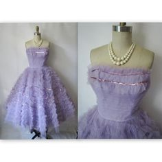 Vintage 1950's Strapless Tulle Lavender Sequin Prom Wedding Dress XS    Gorgeous 50's dress!    Features include:    * Classic New Look silhouette  * Frothy lavender tulle   * Strapless sweetheart bodice  * Ruffled tulle overlay & sequin trim  * Pleated waist  * Fully boned bodice  * Amazingly full tea-length skirt  * Side metal zipper