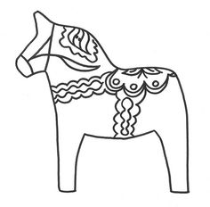 dala horse embroidery pattern by cherryskin, via Flickr Raining Cats And Dogs, Dmc Embroidery Floss, Free Machine Embroidery Designs, Horse Pattern, Horse Coloring Pages, Fabric Painting, Baby Quilts, Moose Art, Colouring