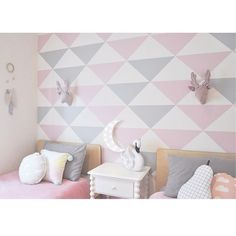 Fun and fabulous geometric pink and grey. Grown up look to a little girls room. :: KOKO KIDS