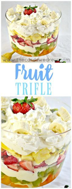 Fruit trifle has NEVER been easier! This is an easy cheesecake fruit salad option for any cookout, holiday, or event with family and friends. Try this fruit trifle recipe and let me know what you think! Fruit Recipes, Dessert Recipes, Cooking Recipes, Fruit Trifle Desserts, Chef Recipes, Fruit Triffle, Party Recipes, Easy Desserts, Delicious Desserts