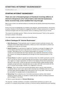 Willmcallister.com starting internet-businesses by Bill McAllister via slideshare