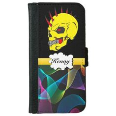 Sugar Skull with rainbow abstract iPhone 6 Wallet Case This fun & festive wallet I phone case features a yellow skull with red horns protruding out the top. The head has black and red eyes. And a yellow line going into a white speech bubble .You can put your name in the bubble. And on the bottom of the wallet case. It is rainbow abstract texture. This is from the Day of the Dead also know as Dia de los Muertos sugar skulls on a png file. So you can change the background color by click the…