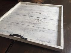 Ottoman serving tray Serving tray Wood serving by MtnMetalWorks Large Ottoman Tray, White Ottoman, Diy Ottoman, Large Tray, Rustic Serving Trays, Easy Woodworking Projects, Diy Projects, Wood Tray, How To Distress Wood