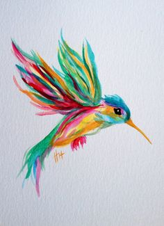 watercolor hummingbird in flight original by shotviatheink on Etsy