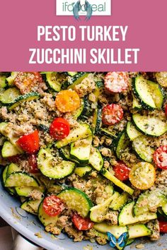 Ground Turkey Zucchini Skillet with Pesto - iFOODreal - Healthy Family Recipes This 30 Minute Healthy Ground Turkey Zucchini Skillet with Pesto is delicious low carb one pot dinner recipe that will become your family's favourite. #ifoodreal #cleaneating #zucchini #dinner #lowcarb #keto #turkey<br> Healthy Ground Turkey, Ground Turkey Tacos, Ground Turkey Recipes, Low Carb Recipe With Ground Turkey, Healthy Family Meals, Healthy Dinner Recipes, Low Carb Recipes, Family Recipes, Zucchini Dinner Recipes