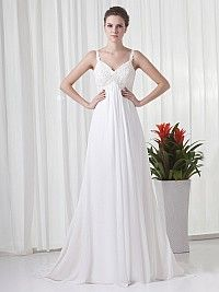 Straps Chiffon Empire Wedding Dress with Beaded Applique Detail