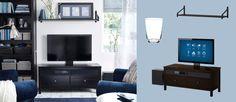 HEMNES/UPPLEVA black-brown TV bench including 40 inch LED TV