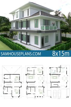 House Plan with 5 Bedrooms - Sam House Plans Best Small House Designs, Simple House Design, 5 Bedroom House Plans, Beach House Plans, 3 Storey House Design, House Elevation, Home Design Plans, House Layouts, House Front