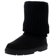 Womens Short Knitted Cardy Slouch Winter Snow Rain Outdoor Warm Shoe Boots  7  BLK38 EA0363 ** Details can be found by clicking on the image.