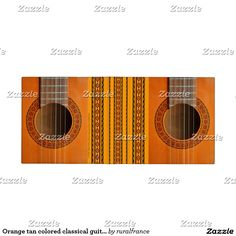 Orange tan colored classical guitar