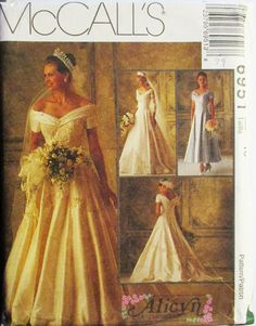 1990s Sewing Pattern McCalls 6915 Misses Bridal Gowns & Bridesmaids Dress Pattern Wedding Dress Size 10 Uncut by SewYesterdayPatterns on Etsy