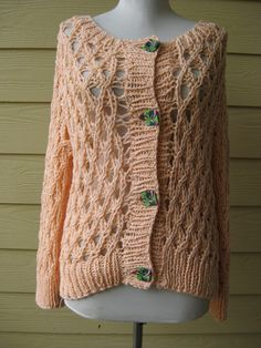 Hand Knitted Cardigan Sweater Light Salmon color by LunaPortenia, $125.00
