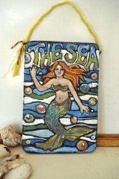 Primitive Mermaid Folk Art Painting The Sea on by busterbeanknows, $30.00