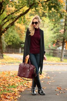 Falling for Germany: gray fringe cape wrap, ruana wrap outfit, burgundy turtleneck, dark skinny jeans with riding boots, Frye Melissa Tab Tall black riding boots, black riding boots outfit, Brahmin black cherry Duxbury satchel, fringe wrap fall outfit
