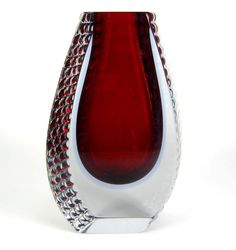 Mandruzzato Sommerso Glas Vase Murano Italy Vintage Venetian Glass ca. 21,5cm