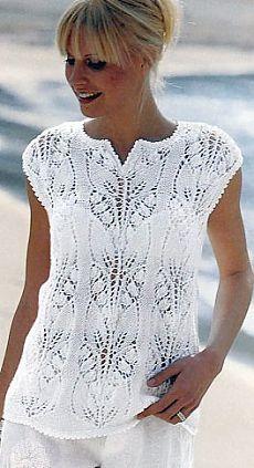 Подробная схема вязания ажурной хлопковой белой кофты к лету с узором и небольшим вырезом, спицами