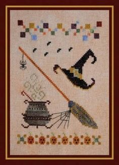 Tools of The Trade Halloween Witch Hat Broom Cross Stitch Pattern Chart | eBay