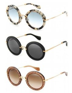"16d2f6267351 ""The perfect round sunglasses by Miu Miu. white havana"