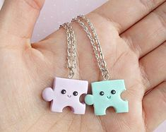 Best Friend Gift Puzzle Necklace Friendship Necklace Going Away Gift Puzzle Charm BFF Gift Long Distance Friends Fimo Kawaii, Polymer Clay Kawaii, Polymer Clay Charms, Polymer Clay Jewelry, Bff Necklaces, Best Friend Necklaces, Friendship Necklaces, Bijoux Harry Potter, Diy Clay Earrings