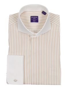 Modena's regular fit dress shirt with white french cuffs and a white cutaway collar is made from 100% cotton fabric in a bold contrasting stripe. Why pay more when you can look amazing for less?