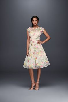 for your bridal shower a tealength dress in a multifloral print