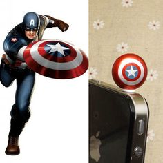 30%OFF Cool Captain America The Avengers Anti Dust Plug 3.5mm Phone Dust Stopper Earphone Cap Dustproof Plug Charm iPhone 4 4S 5 HTC Samsung (for Makayla)