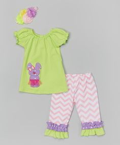 Love this Miss Fancy Pants Neon Yellow & Lavender Bunny Tunic Set - Infant, Toddler & Girls by Miss Fancy Pants on #zulily! #zulilyfinds