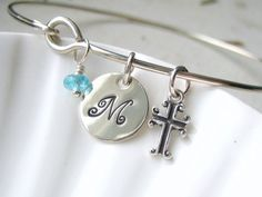 Sterling Silver Initial, Cross and Birthstone Bangle Bracelet: Perfect for a Confirmation or First Communion gift!