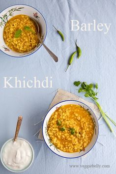 Barley Khichdi Recipe - When I want a quick, comforting meal with no fuss, I turn to this barley khichdi. A traditional Indian khichdi is made with rice, moong dal (yellow mung beans) and turmeric and is cooked to a risotto like consistency. I use barley instead of the rice to create a curried Indian barley khichdi. More: http://www.veggiebelly.com/2012/06/barley-khichdi-recipe.html