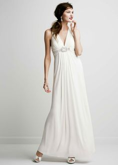 Long Jersey Gown with Beaded Knot Detail - David's Bridal