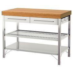 IKEA - RIMFORSA, Werkbank, Voor extra opberg-, afzet- en werkruimte.De onderplank is ontworpen voor het opbergen van pannen.De werktafel heeft haken aan beide kanten waar je bv. keukengerei en hand- en theedoeken aan kan ophangen.De planken zijn verstelbaar, zodat je ze kan aanpassen aan de behoefte.