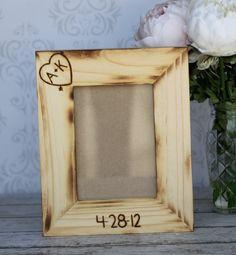 Personalized Wedding Frame Engraved Rustic Wood (item E10369). $22.00, via Etsy.