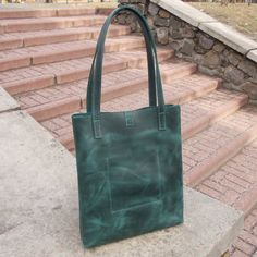 The color: GREEN ●▬▬▬●● SPECIAL OFFERs & COUPONs ●●▬▬▬● There are variety of SPECIAL OFFERs and COUPONs HERE is a link to the section → → → https://www.etsy.com/shop/Babak1995?section_id=20162828 Choose yours BEST DEAL! ●▬▬▬●● FEATURES ●●▬▬▬● • Genuine leather Crazy horse (real cowhide leather) • Bronze hardware • Leather handles to carry in hand or on shoulder as well • Without lining • One open pocket in the inside • Adding a metal zipper on the top is available...