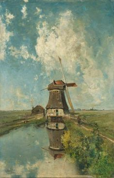 In the month of July. A Windmill on a Polder Waterway, Known as In the Month of July, by Paul Joseph Constantin Gabriel, c. The painting is in the public domain and is held held in the Rijksmuseum in Holland with permission to use the image. Framed Art Prints, Painting Prints, Canvas Prints, Painting Clouds, Buy Prints, Landscape Art, Landscape Paintings, Art Vintage, Vintage Table