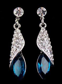 Blue+Gemstone+Silver+Crystal+Stud+Earrings+7.60