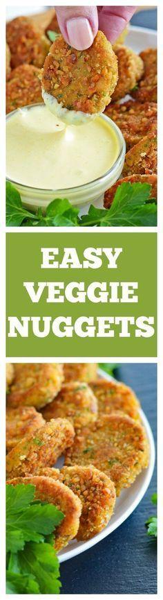 Veggie Nuggets with VEGAN Honey Mustard Dipping Sauce - Vegetarian Meals Veggie Recipes, Whole Food Recipes, Vegetarian Recipes, Cooking Recipes, Healthy Recipes, Fast Recipes, Vegetarian Cooking, Burger Recipes, Dip Recipes