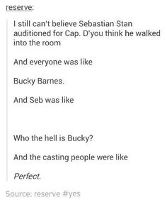 I still can't believe Sebastian Stan auditioned for Cap. D'you think he walked into the room And everyone was like Bucky Barnes. And Seb was like Who the hell is Bucky? And the casting people were like Perfect. Marvel Avengers, Avengers Memes, Marvel Actors, Marvel Funny, Marvel Memes, Marvel Dc Comics, Superhero Memes, Fandoms, Tom Hiddleston