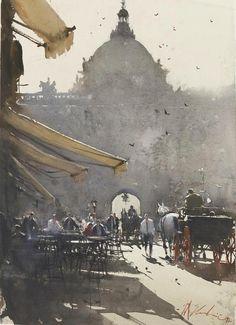 Joseph Zbukvic / ville / urbain / rue / terrasse / brume / monument / lumière / peinture / composition / couleur