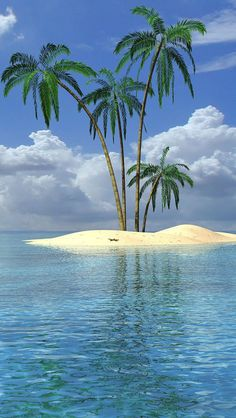 How funny, I used to draw this image when I was in school. Just a simple little bit of island and some palm trees